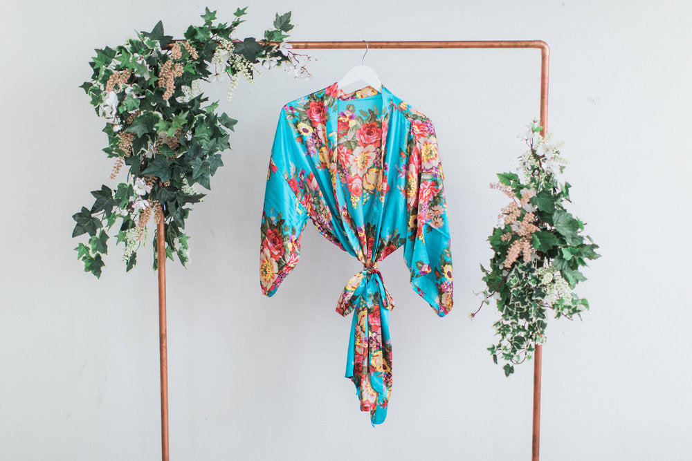 Teal Floral Bridesmaid Robe