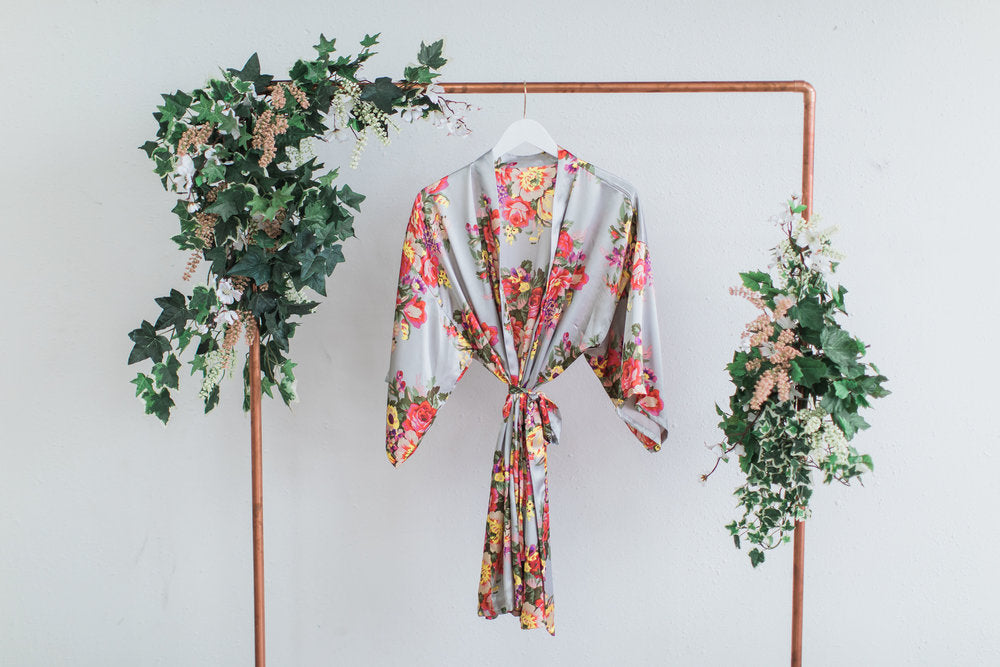 Gray Floral Bridesmaid Robe