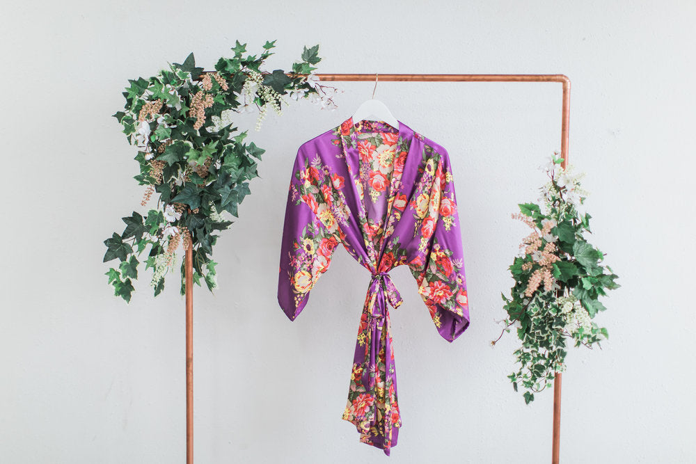 Purple Floral Bridesmaid Robe
