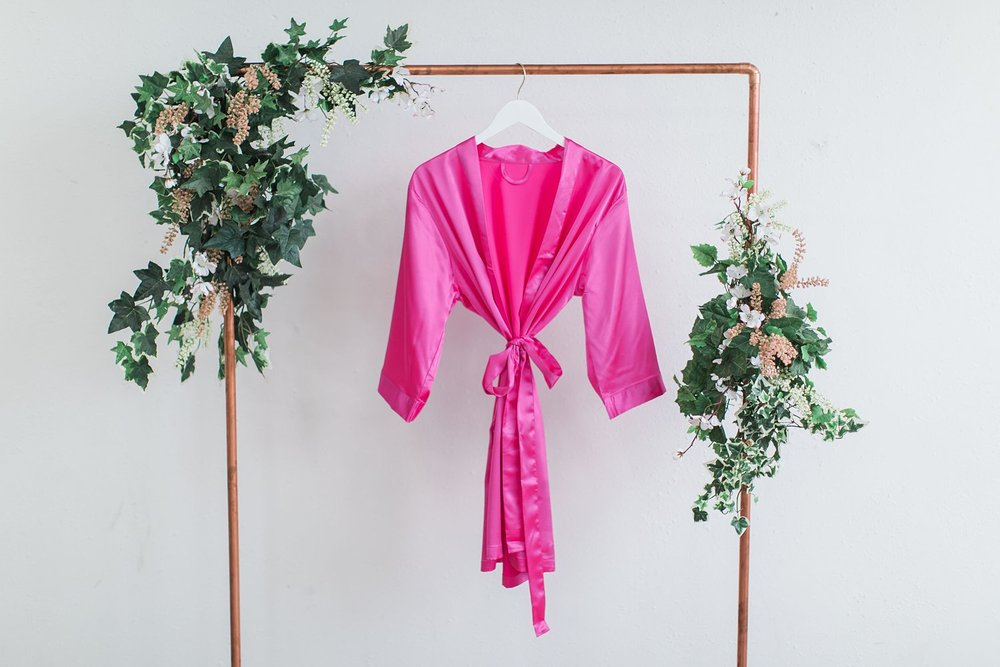 Solid Hot Pink Satin Bridesmaid Robe
