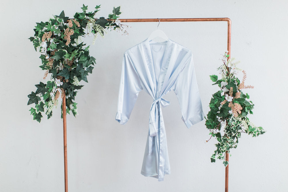 Solid Gray Satin Bridesmaid Robe