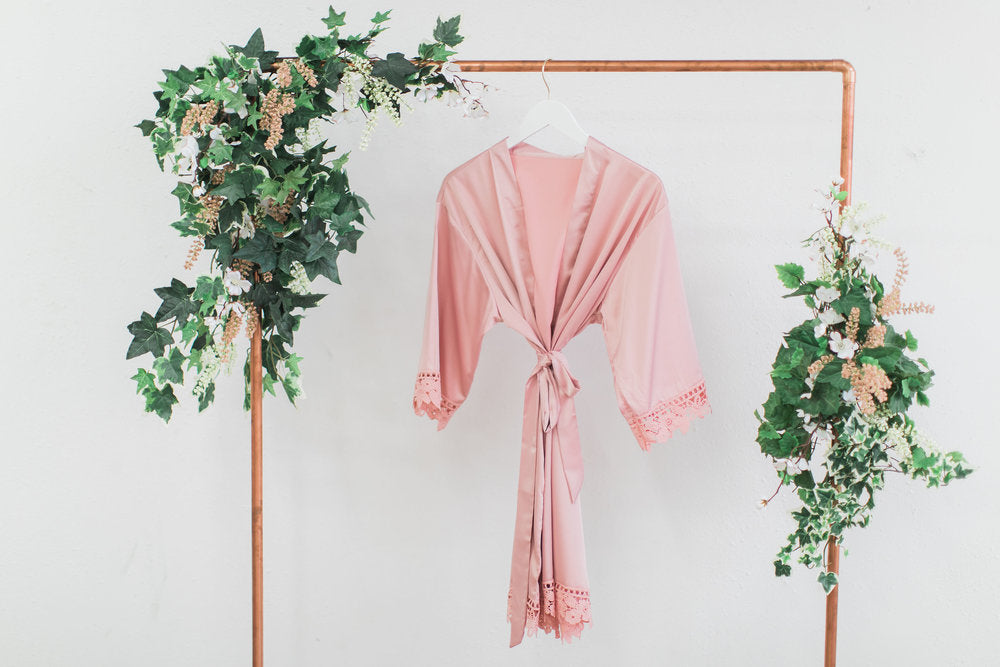 Dusty Pink Lace Robe