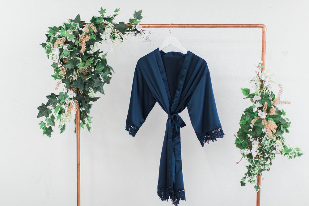 Navy Lace Robe