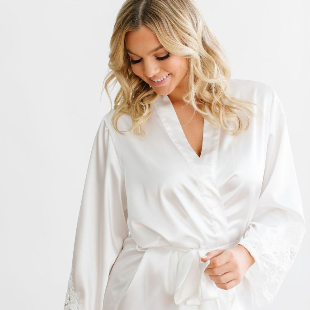 White Satin Lace Robe