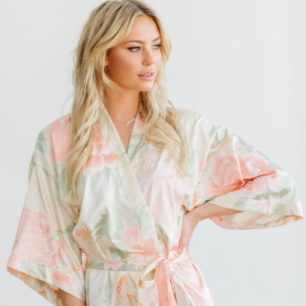 Champagne Big Floral Robe