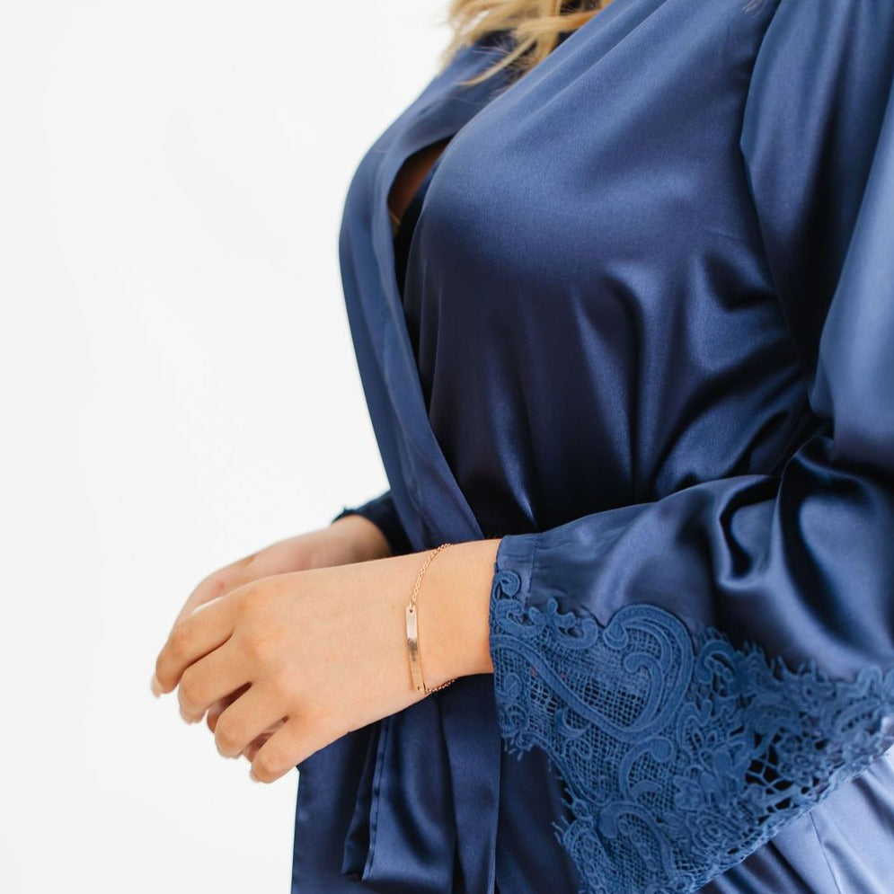 Navy Satin Lace Robe