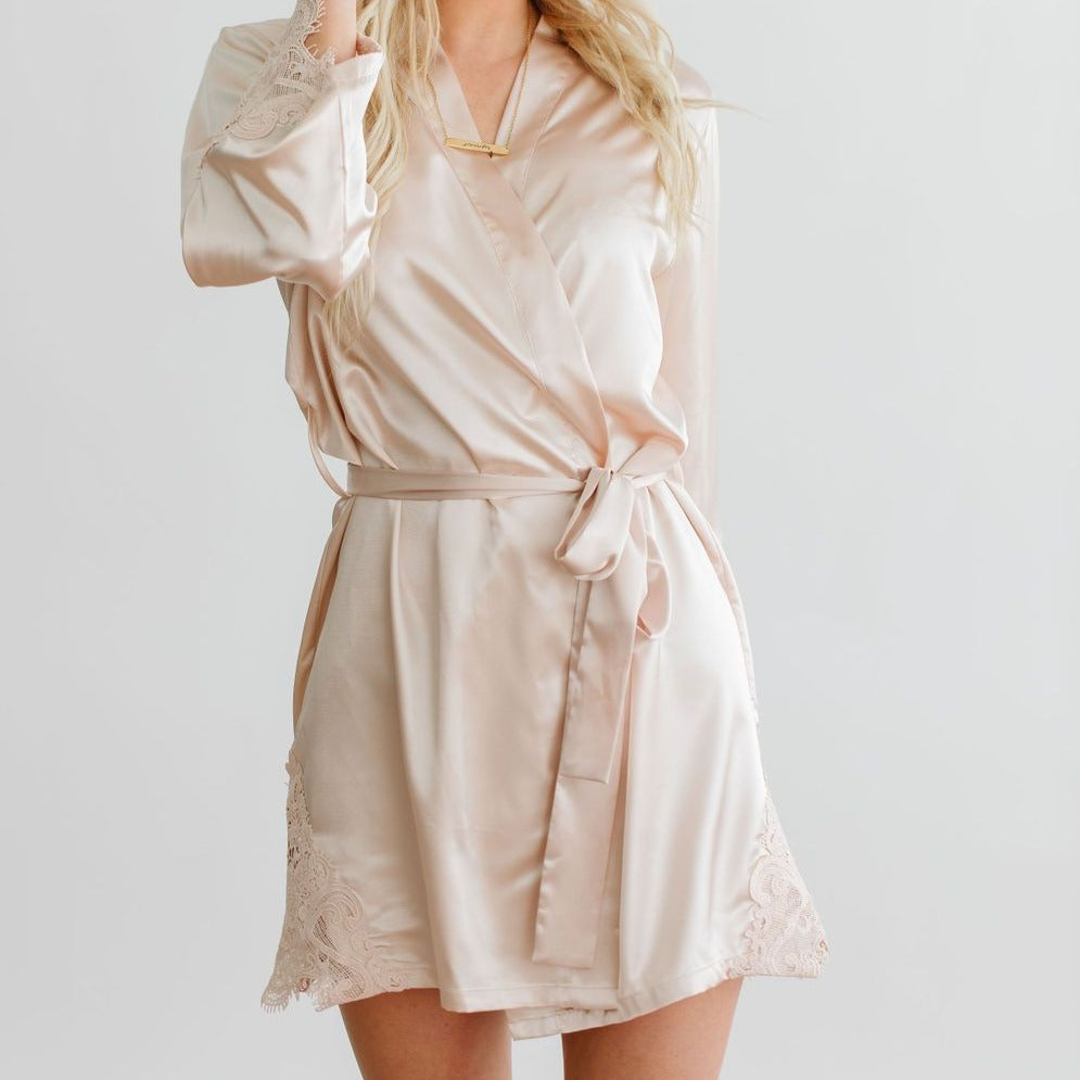 Champagne Satin Lace Robe