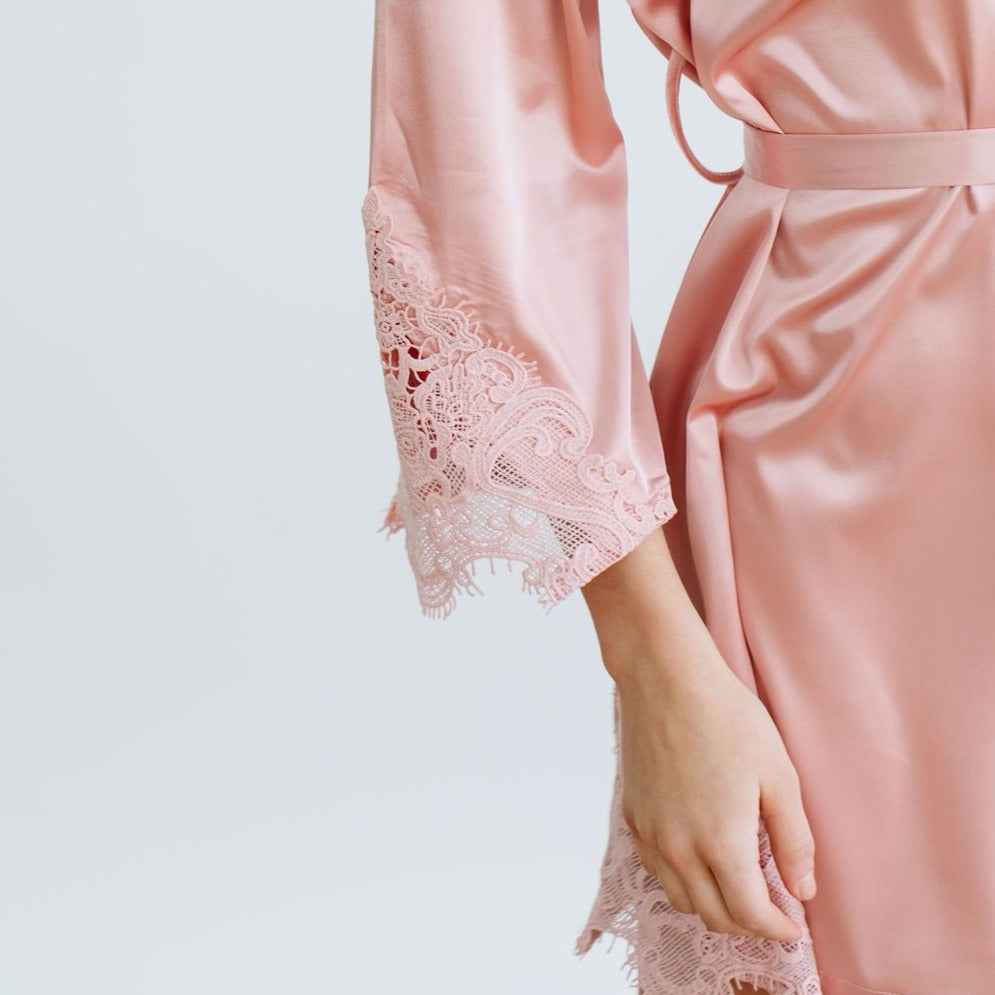 Rose Satin Lace Robe