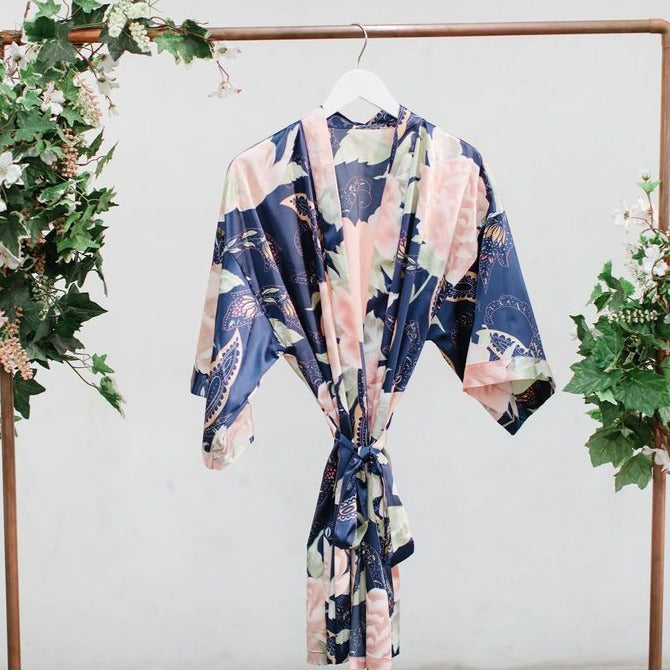 Navy Big Floral Robe