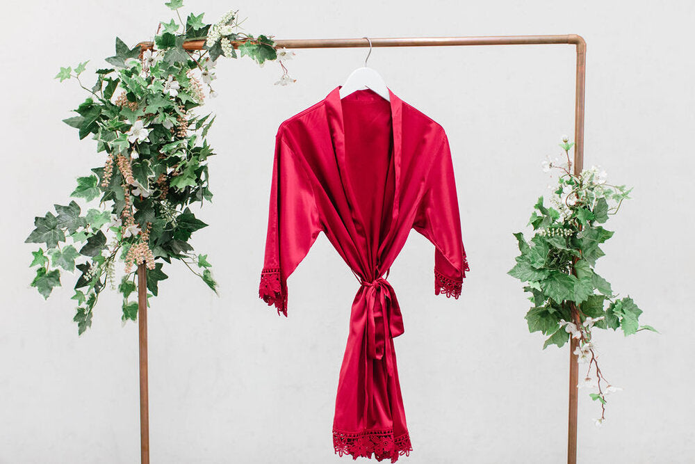 Burgundy Lace Robe