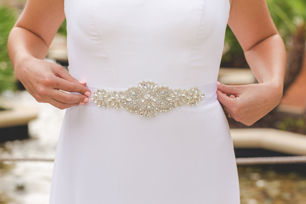 Front Floral Wedding Dress Belt