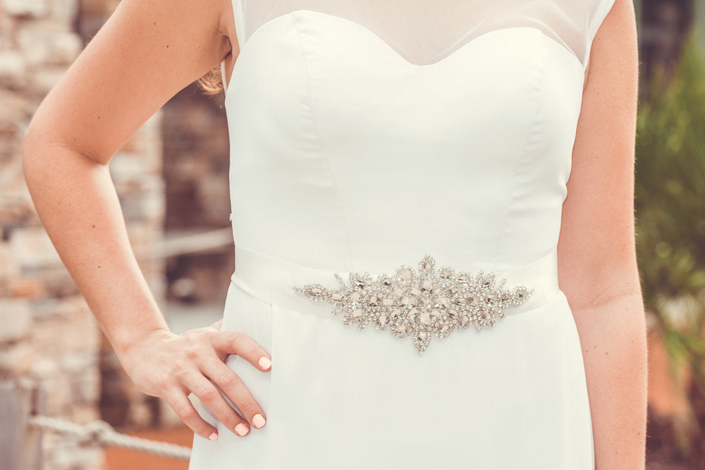 Flower Crystal Wedding Dress Belt