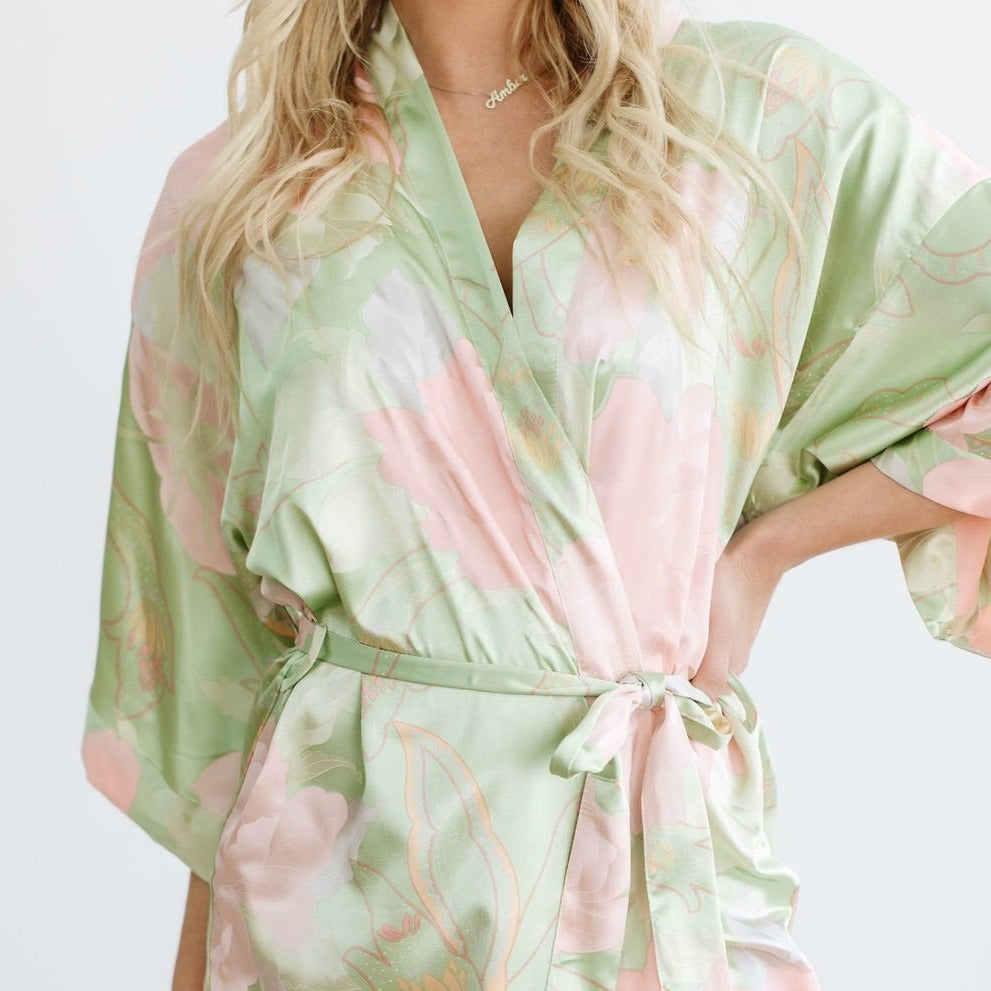 Green Big Floral Robe