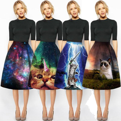So Many Cat Prints High Waist Pleated Skirt