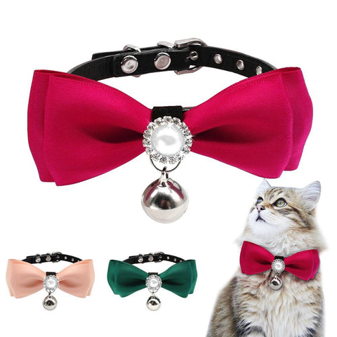 Adjustable  Bowtie Cat Collar With Pearl And Bling
