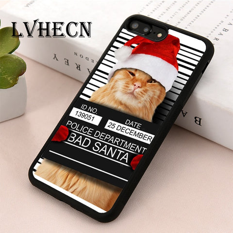 Bad Santa Cat Case For iPhone 4 4s 5 5s 5c SE 6 6s 7 8 Plus X