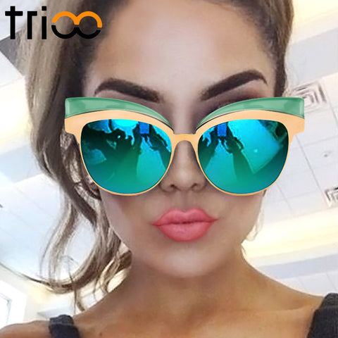 TRIOO Coating Mirror Sunglasses Gold Cat Eye Shades - Cats Love Life