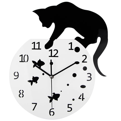 Cat and Fish Bowl Clock - Cats Love Life