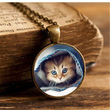 Vintage Bronze And Glass Cute Cat Pendant - Cats Love Life