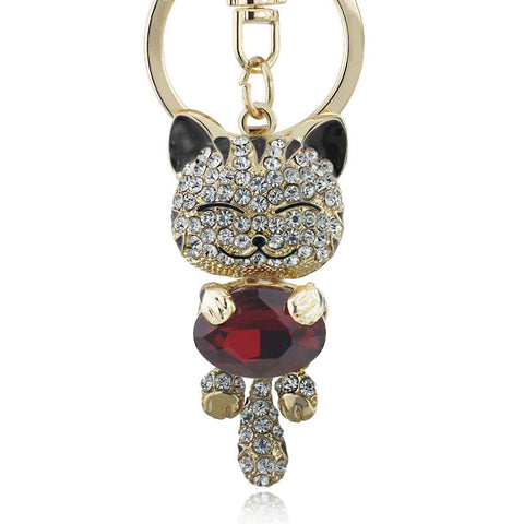 Lucky Smile Cat Crystal Rhinestone Key Chains - Cats Love Life