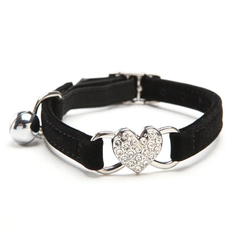 Heart Charm And Bell Cat Collar With Quick Release Soft Velvet - Cats Love Life