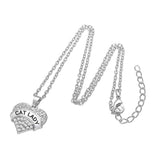 CAT LADY Crystal Heart Necklace - Cats Love Life