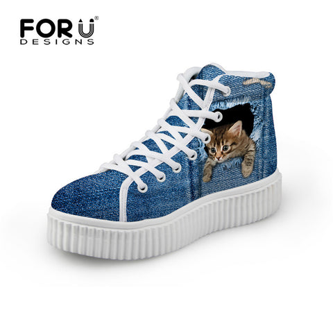 Cat Ripping Through Jeans High-Top Sneaker - Cats Love Life