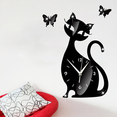 Mirror Cat Wall Clock In Four Colors - Cats Love Life