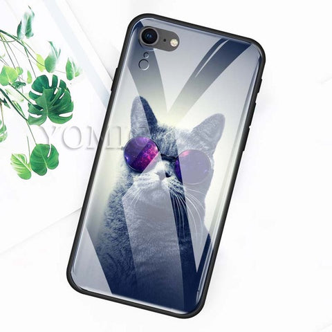Tempered Glass Black Cat Eye Case For iPhone XS Max XR X 7 7S 8 6 6S Plus 6S+ 6+ 7+ 8+