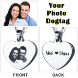 Personalized Photo Heart Necklace with Text Engraving - Cats Love Life