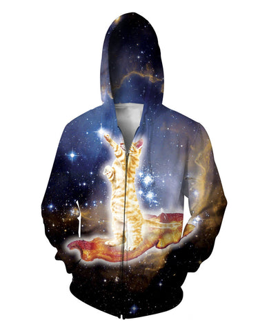 Ginger Cat On Bacon In Space Hoodie Sweat Shirt - Cats Love Life