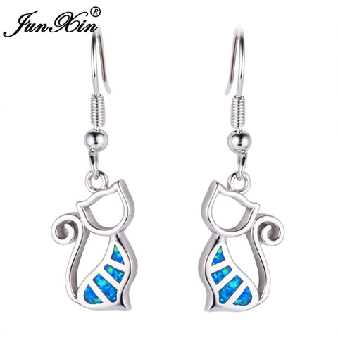 Blue Cat Sterling Silver Filled Fire Opal Earrings - Cats Love Life