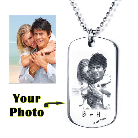 Personalized Photo Tag Necklace with Text Engraving - Cats Love Life