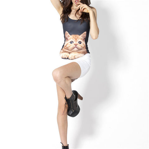 Short Pencil Dress Cute Cat Tank - Cats Love Life