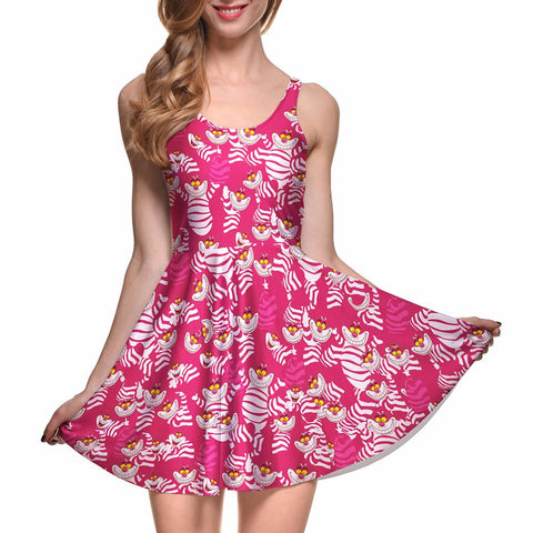Pleated Summer Dress Cheshire Cat And Many Other Prints - Cats Love Life