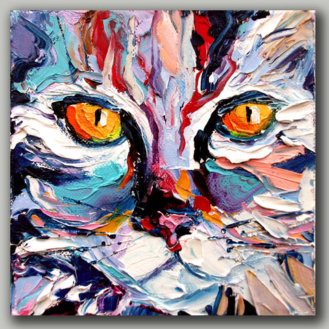 Hand Painted Cat Oil Painting On Canvas With Frame - Cats Love Life