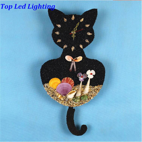 Handmade Sand And Shells Black Cat Wall Clock With LED Lamp - Cats Love Life
