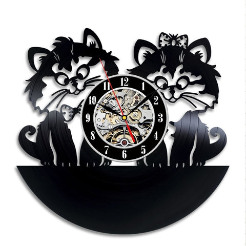 Cute Cats Love Vinyl Records Wall Clock - Cats Love Life