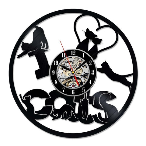 Little Cats Love Vinyl Record Wall Clock - Cats Love Life
