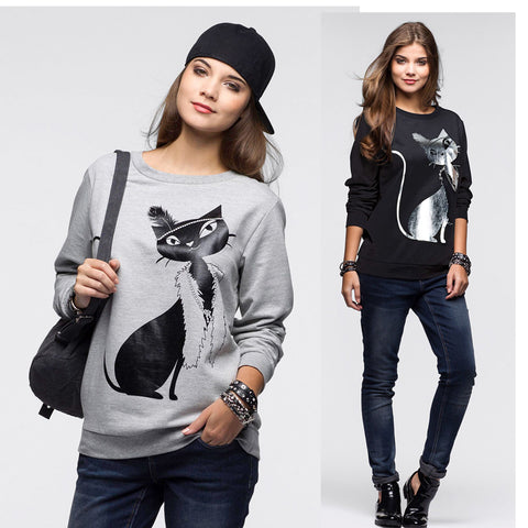 Pretty Cat Long Sleeve Loose Sweatshirt - Cats Love Life