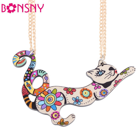 Bonsny Artistic Cat Necklace - Cats Love Life