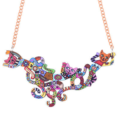 Bonsny Cat Multicolor Necklace - Cats Love Life
