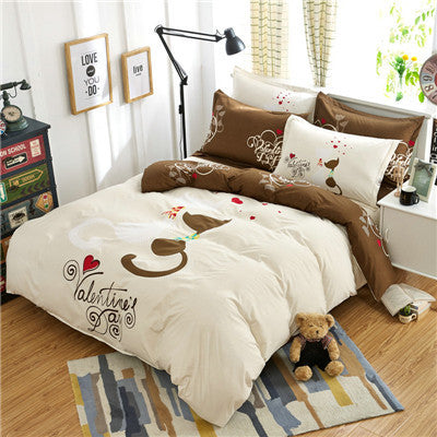 Valentine Cat Bedding Set 4 Piece Duvet Cover Bed Sheet And Pillow Cases - Cats Love Life