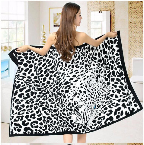 Super-Absorbent Microfiber Leopard Print Beach Towel - Cats Love Life