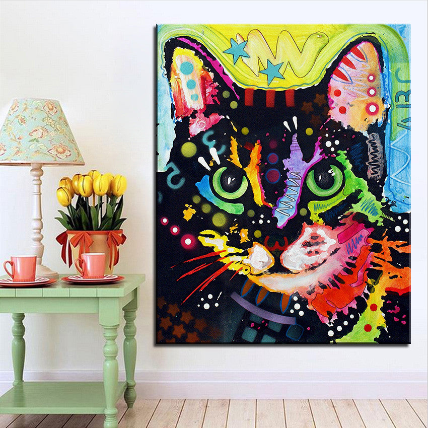Canvas Printed Oil Painting Colorful Cat Cats Love Life