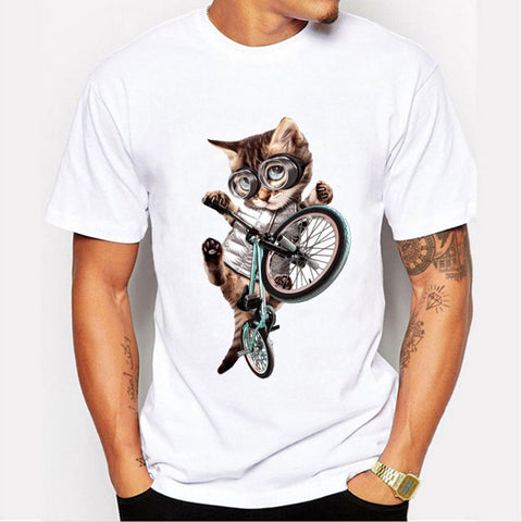 Men's Cool Cat On Bicycle T-Shirt - Cats Love Life