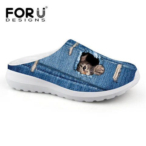 Cute Cat Tearing Through Denim Women's Slip-on Shoes - Cats Love Life