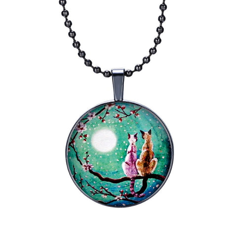 Two Cats Under the Moonlight Glass Pendant - Cats Love Life