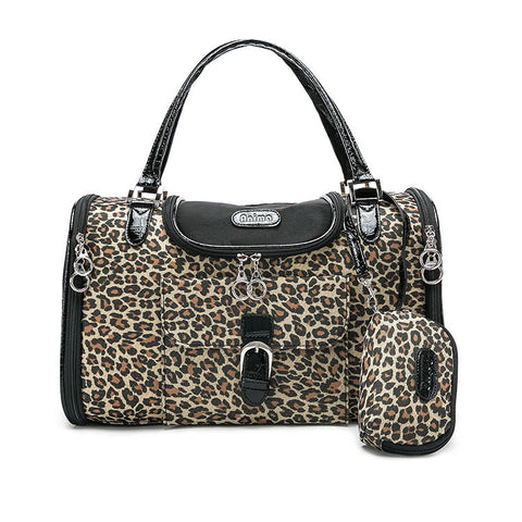 Luxury Leopard Print Cat Carrier With Purse - Cats Love Life