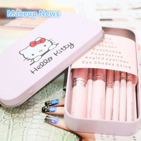 7 PCS Beauty Hello Kitty Makeup Brushes Set Eye Shadow Eyeliner Foundation Lip Brush